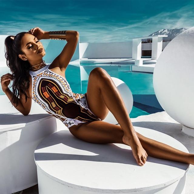 2b5eef355c420 FIGOBELL African Printed Swimwear One Piece Swimsuit 2018 Women High Cut  Trikini Thong Monokini Brazilian Plus