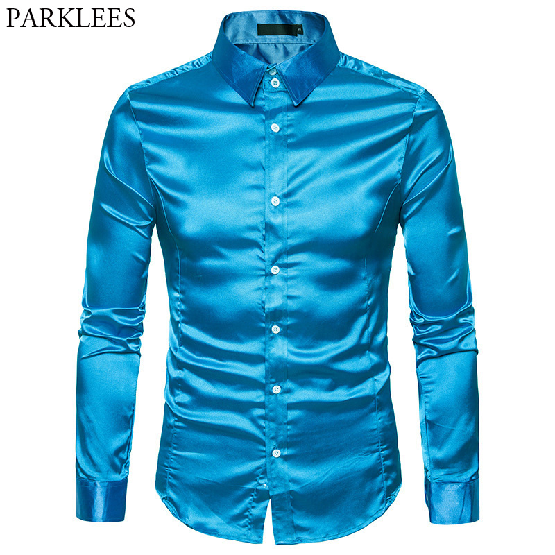 Silk Satin Shirt Men 2017 Autumn Men Shirt Long Sleeve Slim Fit Male Shirts Emulation Silk Casual Button Down Mens Dress Shirts