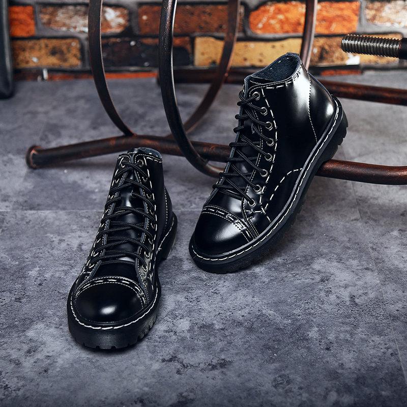 Peau Haute Cuir Inner Desiger Couple Talons Femmes Chaussures À Vache Bottes Épais Style Britanniques Black Bas De blackCotton Coudre Martin Plat En 8nwPkX0O
