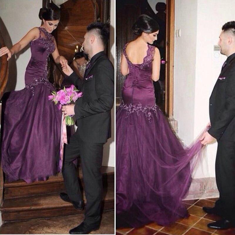 Popular Dark Purple Lace Prom Dress-Buy Cheap Dark Purple Lace ...