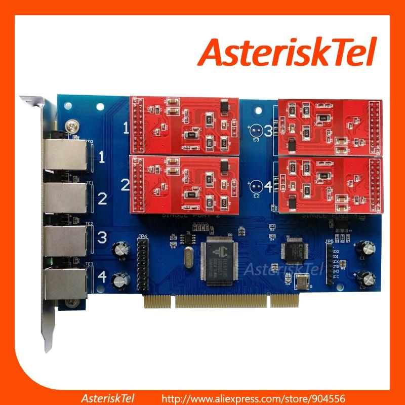 imágenes para Tarjeta del asterisco, TDM410P con 4 FXO FXS Módulos de FXS FXO tarjeta Compatible con digium tdm400p tarjeta De Asterisk PBX VoIP PBX