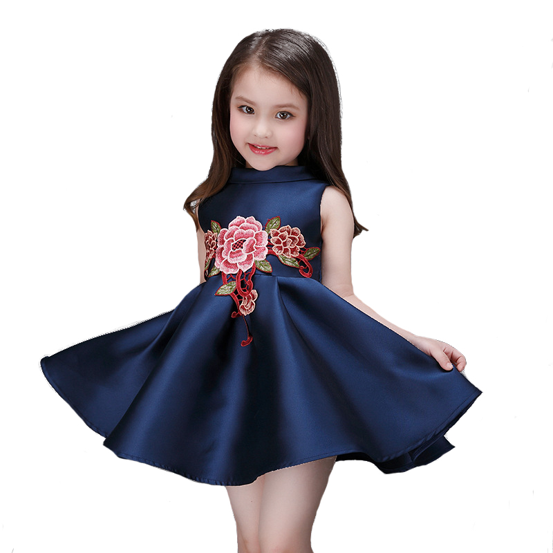 2016 Newest girl dress brand kids clothes spring summer children clothing girls clothes navy blue baby girls dress