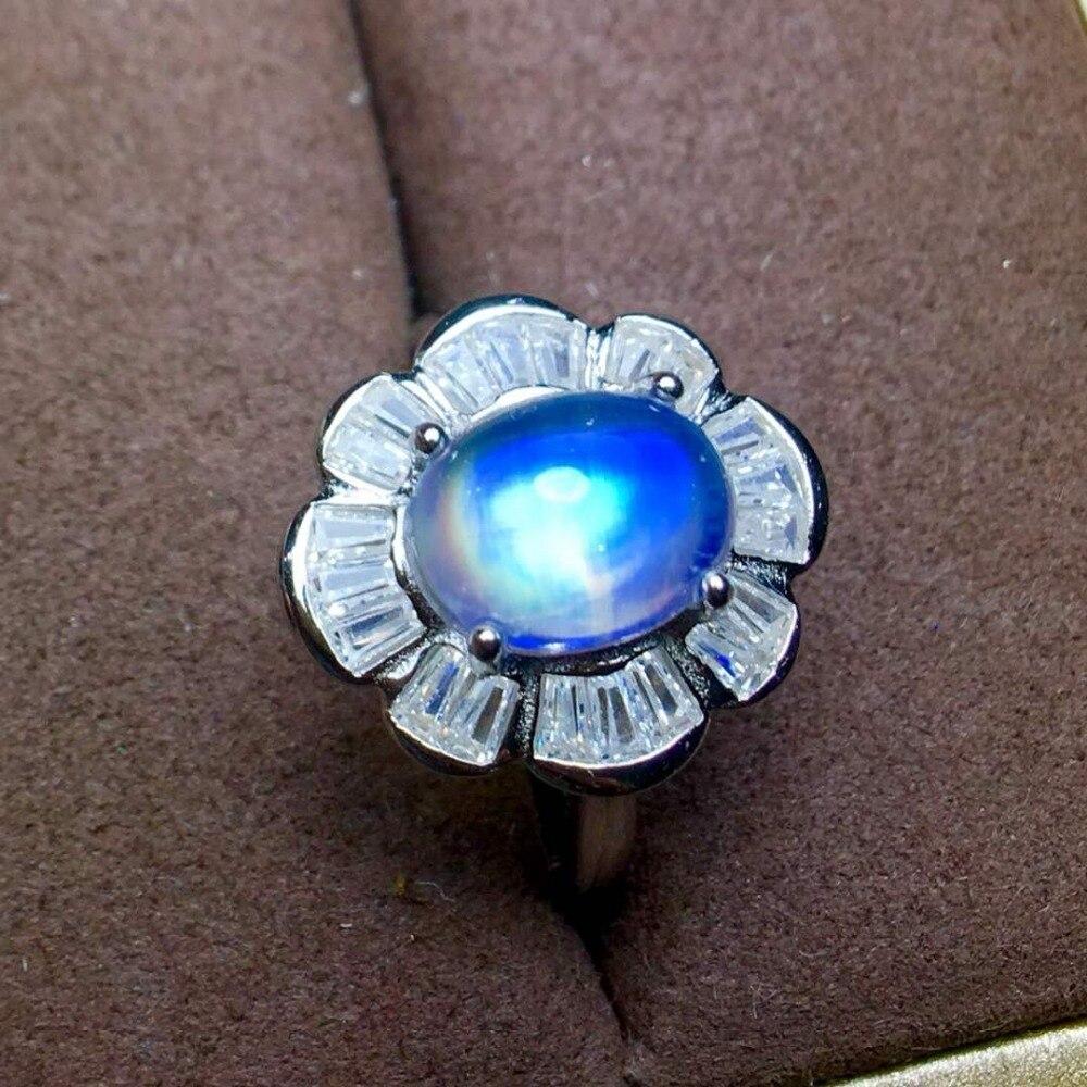 цена на Pure Blue Moonstone Ring 925 silver Seiko mosaic Perfect quality,Super blue halo