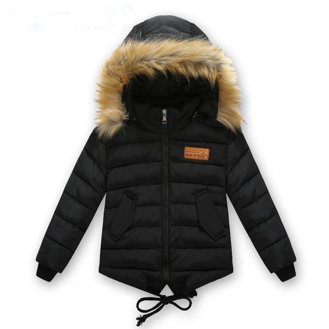 Ropa de los niños masculinos de invierno 2016 chaqueta de algodón acolchado chaqueta de algodón arrugado engrosamiento niñas espesar abrigo Con Capucha