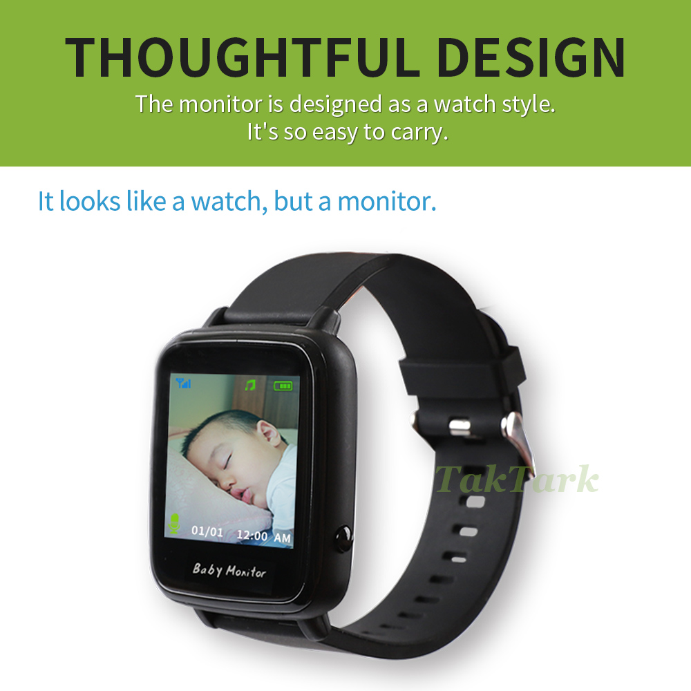 Image 2 - Wireless Video Watch Style Baby Monitor Portable shock vibration Baby Nanny Cry Alarm Camera Night Vision Temperature Monitoring-in Baby Monitors from Security & Protection
