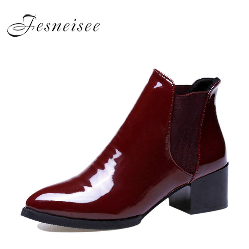 FESNEISEE Pointed Toe Women Ankle Boots Patent Leather Red Black Short Elegant Boots Fashion 2018 Autumn Winter Shoes For Woman