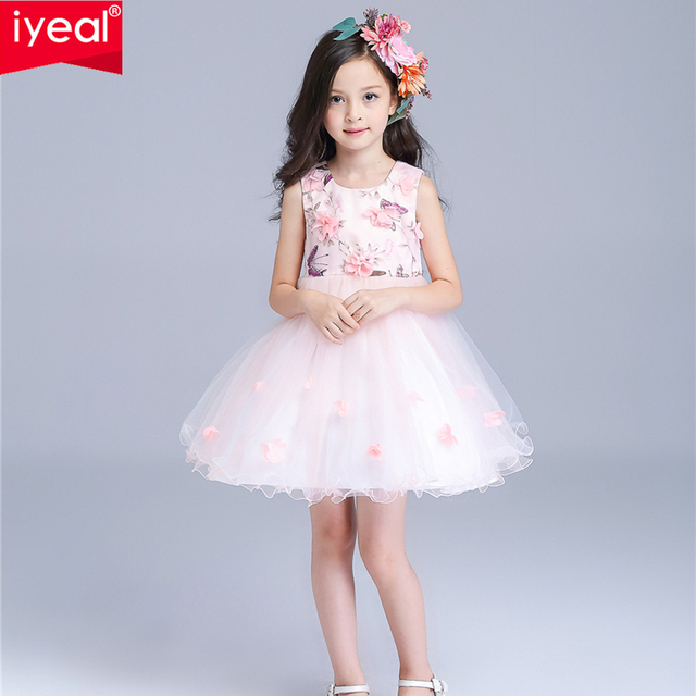 c2e04a69b IYEAL Girl Dress with Flower Embroidery 2016 Sleeveless Party Dresses  Girls  Knee Length Dresses Kids