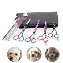 5 шт. ножницы для ухода за собаками, набор для стрижки собак, кошек, инструмент для стрижки из нержавеющей стали, ножницы для красоты домашних животных