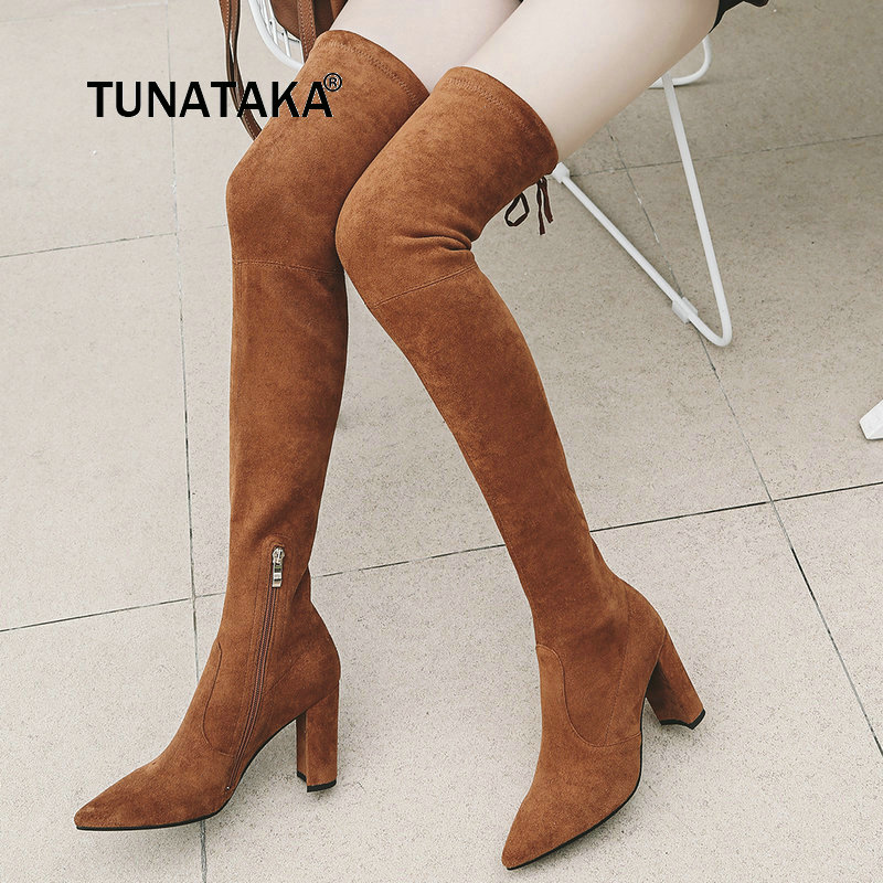 Women Flock Autumn Pointed Toe With Side Zipper Over The Knee Boots Comfortable Square Heel Thigh Boots Black Gray Brown