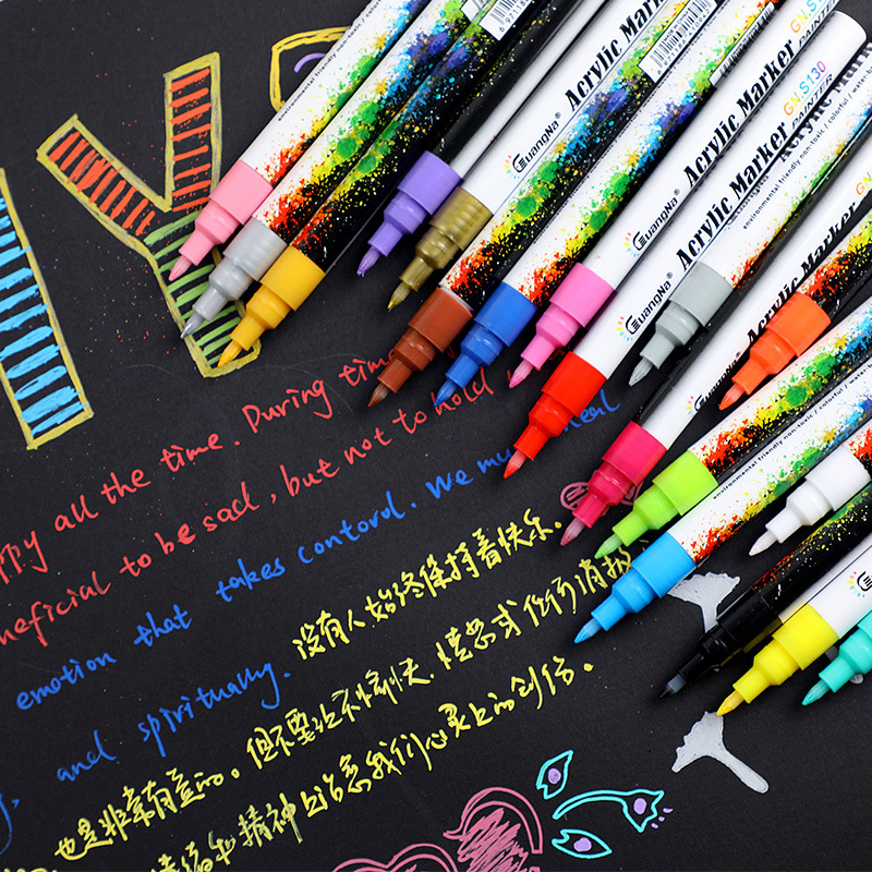 0.7mm Acrylic Paint Marker Pen Detailed Marking Color Paint Pens For Ceramic Rock Glass Porcelain Mug Wood Fabric Canvas