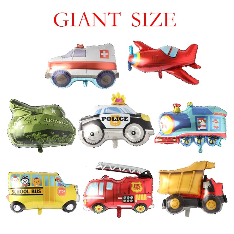 Big Toy Car Foil Ballon Kids Baby Shower Boys Tank Plane Ambulance Bus Fire Truck Birthday Party Decoration Train Cars Balloons in Ballons Accessories from Home Garden