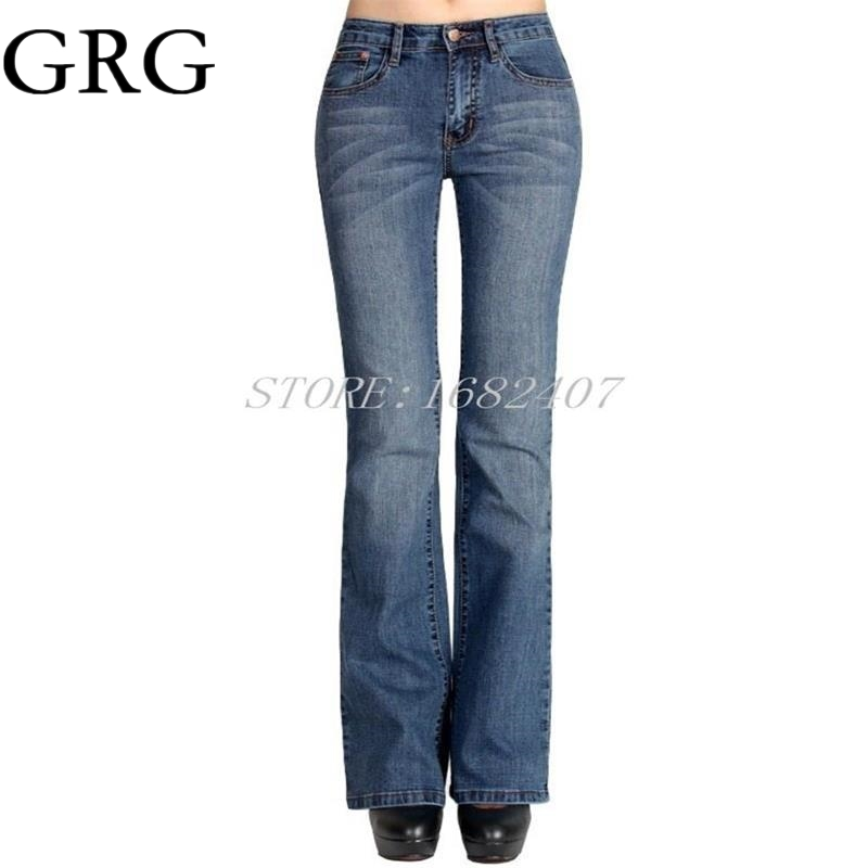 Free Shipping Higfh Quality Women s Bell bottom Jeans Ladys Denim Boot Cut Pants Flares Trousers