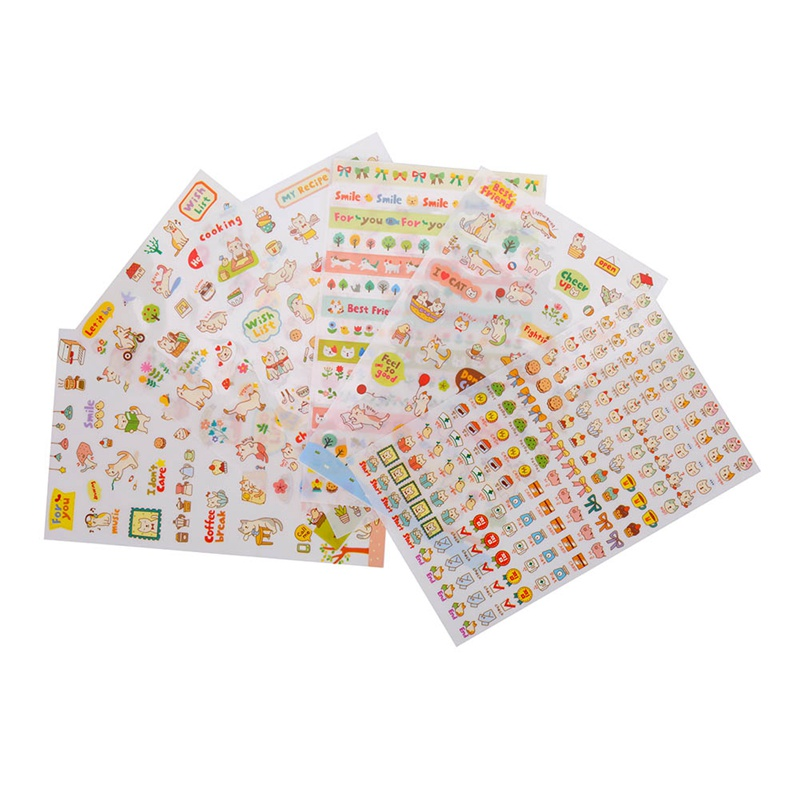 6 Pcs/Set Cute Cartoon Cats Flowers Animals Sticker Cartoon Stickers Diary Sticker Scrapbook Decorative Stationery Stickers