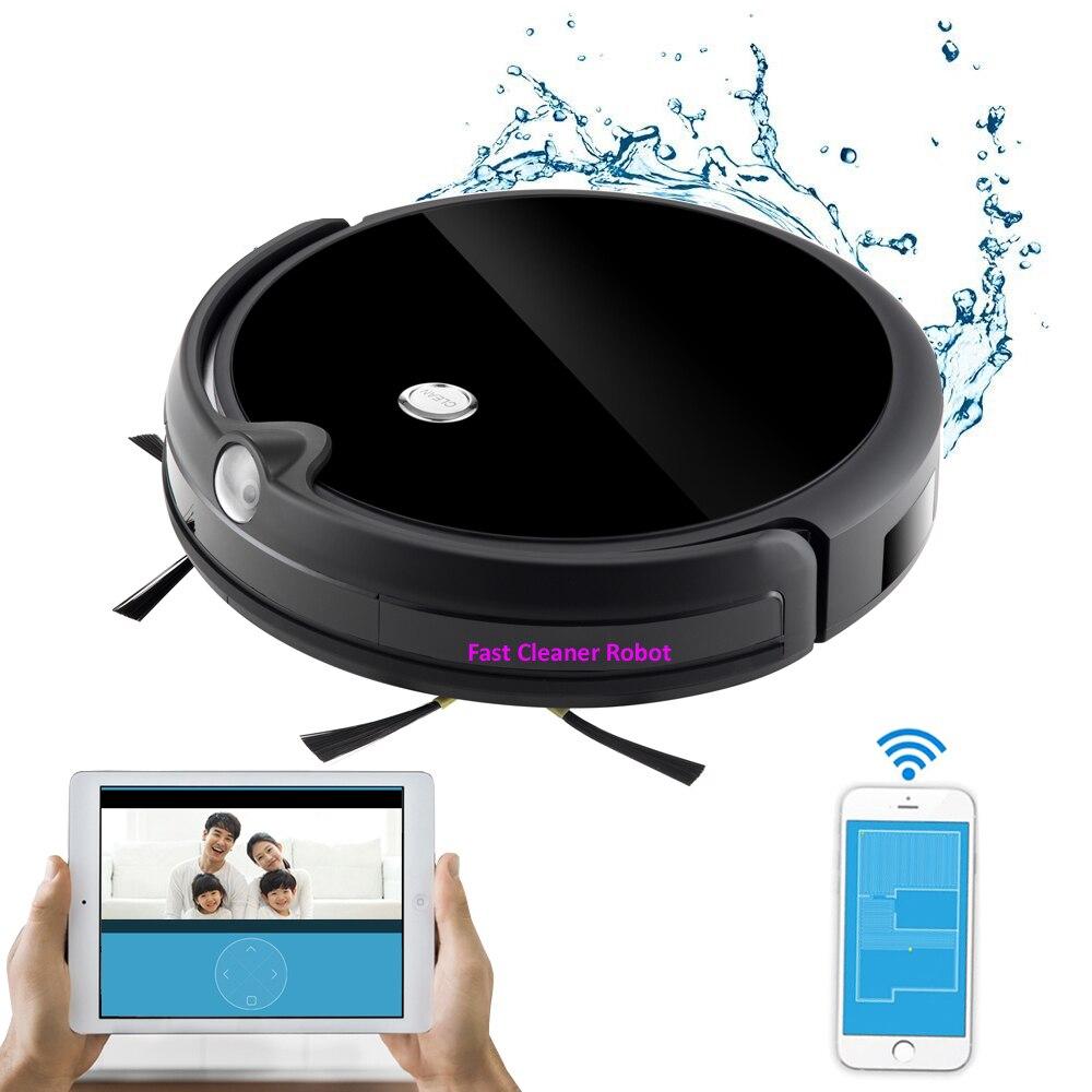 Navigation de carte, appel vidéo de garde de caméra aspirateur Intelligent humide et sec avec le contrôle d'application WiFi, mémoire intelligente, grand réservoir d'eau