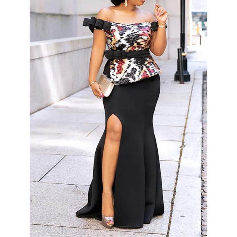 Сексуальное облегающее вечернее платье с открытыми плечами, женское элегантное вечернее платье с открытой спиной и высокой талией, длинное...
