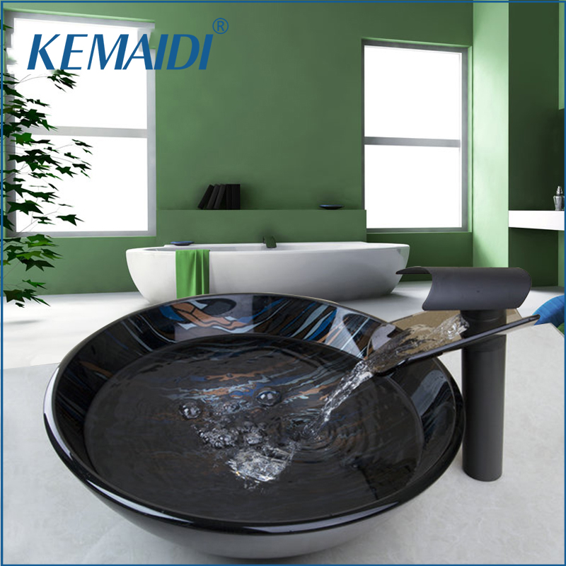 KEMAIDI New Hand Paint Vessel Washbasin Tempered Glass Basin Sink With Waterfall Faucet Taps Water Drain