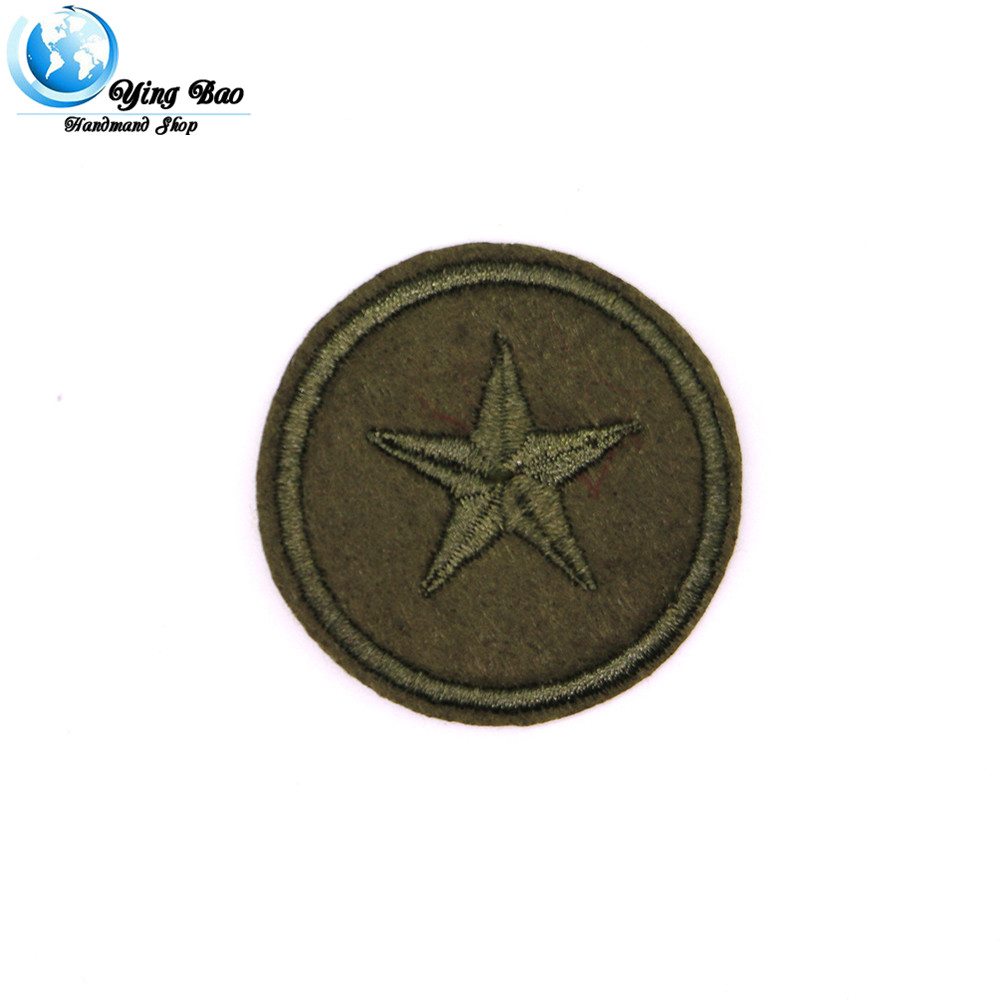 New 1 pcs size : Diameter 4cm Iron-on padded star felt Embroiered Black Star garment Appliques accessory patches P-77