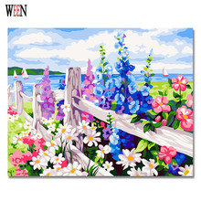 Brand New Coloring by Numbers Flower Oil Painting on Canvas Wall Lovely DIY Digital Decorative Pictures