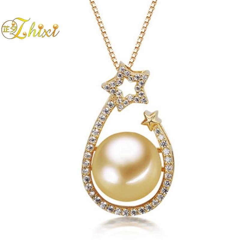 ZHIXI véritable haute qualité 10.5-11mm rond doré mer du sud collier de perles et pendentif avec réel 925 Siver, 2018 nouveau style DZ634