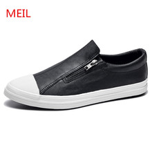 MEIL 2018 Men Loafers Designer white Shoes Fashion breathable Casual chaussure homme Zip leather shoes men