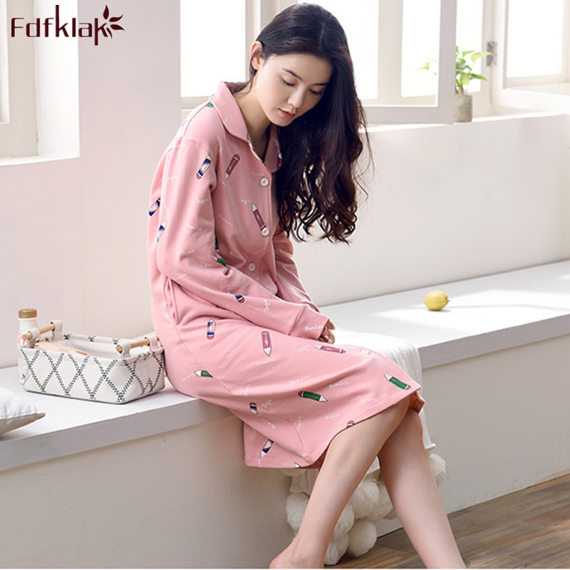 Detail Feedback Questions about Fdfklak Good Quality Cotton Nightgowns  Women Autumn Winter Ladies Sleepwear Nightdress Vintage Print Night Shirt  Nightie ... 8c6763bb1