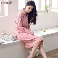 Fdfklak Good Quality Cotton Nightgowns Women Autumn Winter Ladies Sleepwear Nightdress Vintage Print Night Shirt Nightie Female