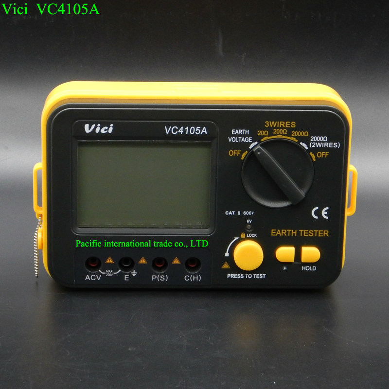 VC4105ADigital Earth Ground Resistance Tester EarthVoltmeter Ohmmeter 2K200Vw/ LCD Back light Overload protection data retention earth 2 society vol 4 life after death