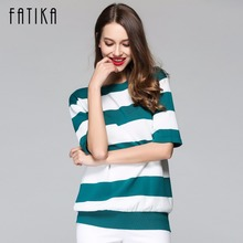 FATIKA Women Casual Autumn Striped Crochet Sweaters Fashion Knitted Pullovers Sweaters O-Neck Short Sleeve Women Winter Clothes