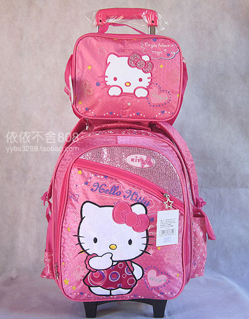 ea4894b8d02 2 in 1 Pink Hello Kitty Bags Girls Trolley School Bags Wheeled Backpack  Rolling Travel Luggage Children Cute Bookbag Small Bag