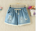2017 Summer New Marine Fish Street Tide Paragraph Hole Embroidery Washed Denim Shorts Wild Female Elastic Waist Belt