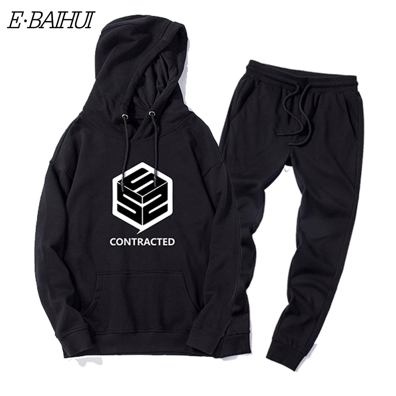 New Winter Tracksuits Men Set Thicken Cotton Hoodies Pants Suit Autumn Sweatshirt Sportswear Set Male Hoodie Sporting Suits TZ01