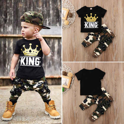 Дети для маленьких мальчиков Костюмы топы с короткими рукавами футболка с короной и штанов с камуфляжным принтом, наряды, комплекты на лето