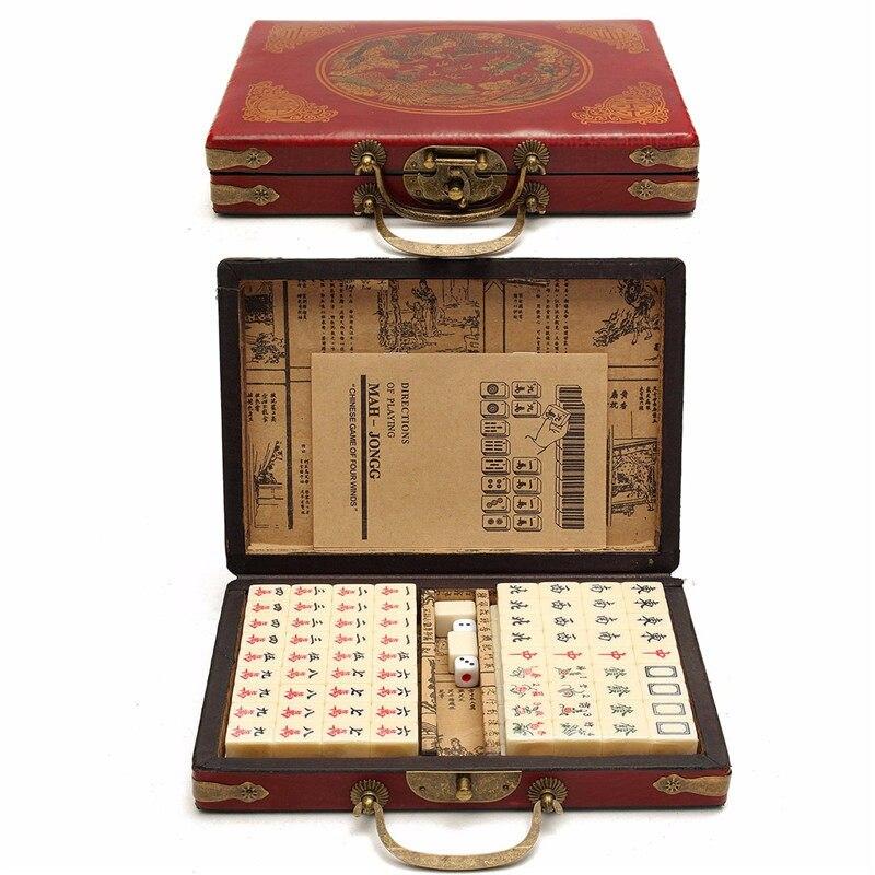 Jeux de fête de haute qualité pour adultes jeux de société 144 carreaux Mah-Jong Set multi-couleur Portable Vintage Mahjong Rare jouet chinois