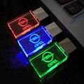 Стекло Кристалл USB Флэш-Накопители с OPEL автомобили Логотип 4 ГБ 8 ГБ 16 ГБ 32 ГБ 64 ГБ USB 2.0 Флэш-Диск Стик Pen Drive со СВЕТОДИОДНОЙ Подсветкой