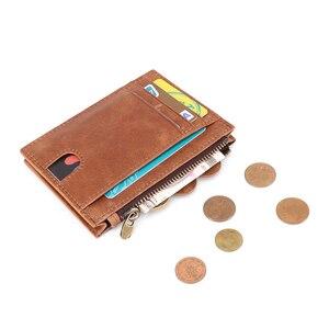 Image 3 - 本革rfidクレジットカード財布レトロな多機能男性ミニコイン財布ヴィンテージ女性の小さなコインポーチidカードケース