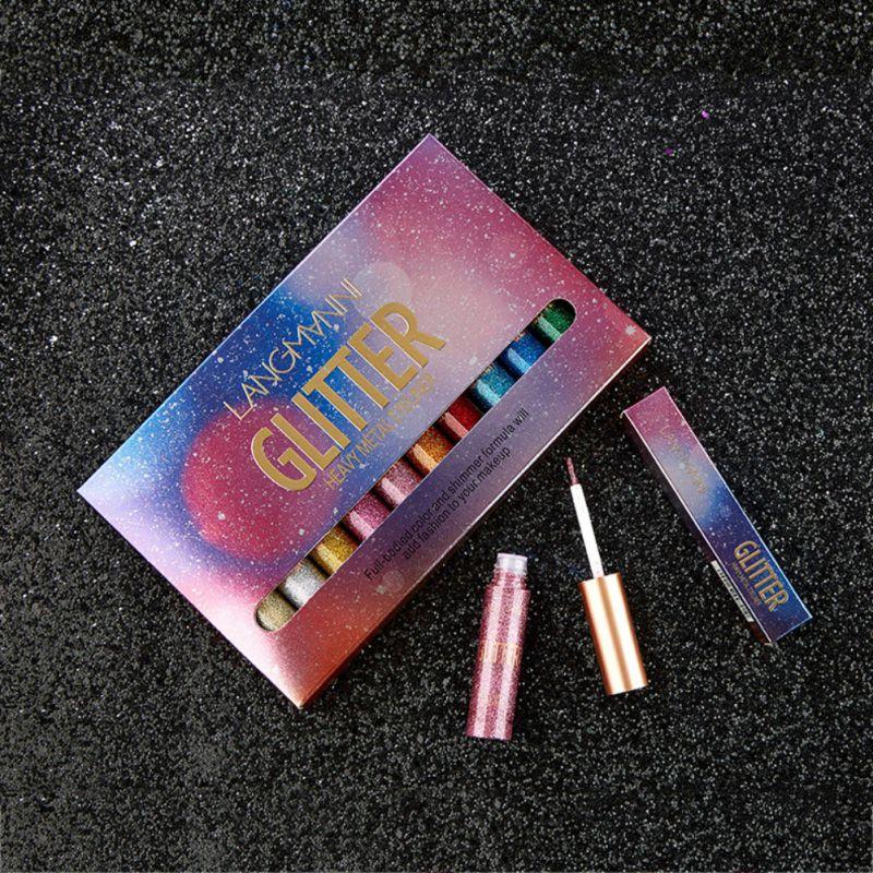 Flüssigkeit Glitter Glänzende Schimmer Eyeliner Bleistift 10 teile/satz Wasserdichte Bunte Lang Anhaltende Make-Up Eye Liner