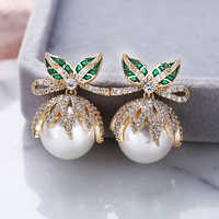 Shinning Frische Perle Stud Ohrringe Für Frauen Hochzeit Handgemachte Ohrringe Silber Post 925 Schmuck mit AAA Zirkonia Großhandel