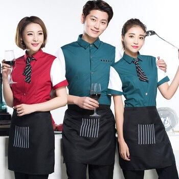 Hotel servicio de camarero mujeres shop Cafe Internet estilo occidental catering olla caliente media manga ropa de trabajo de verano J137