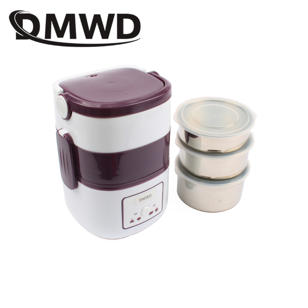 DMWD 3 Layers Electric insulation heating lunch box pluggable Steamer electrical Rice Cooker stainless steel Food Container EU dmwd mini rice cooker insulation heating electric lunch box 2 layers portable steamer multifunction automatic food container eu