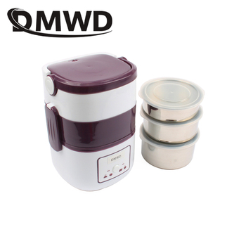 DMWD 3 Layers Electric insulation heating lunch box pluggable Steamer electrical Rice Cooker stainless steel Food Container EU