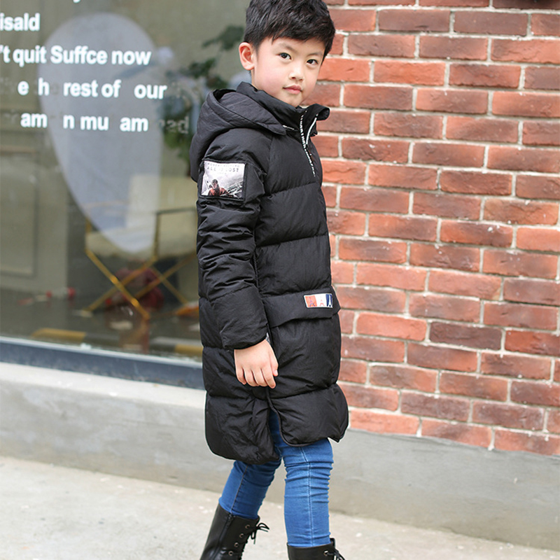 Girls Cold Winter Duck Down Jacket Boy Warm Fur Down Coat Children Casual Hooded Outerwear Russia Winter Child Trench Coat