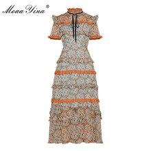 MoaaYina Designer de Moda Runway vestido Primavera Verão Mulheres Vestido de Chiffon Vestidos de manga Curta Lace Ruffles Floral Print