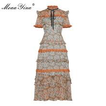 MoaaYina Fashion Designer Runway dress Spring Summer Women Dress Short sleeve Lace Ruffles Floral Print Chiffon Dresses