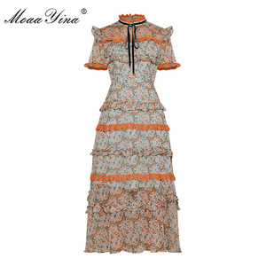 Image 1 - MoaaYina Fashion Designer Runway dress Spring Summer Women Dress Short sleeve Lace Ruffles Floral Print Chiffon Dresses