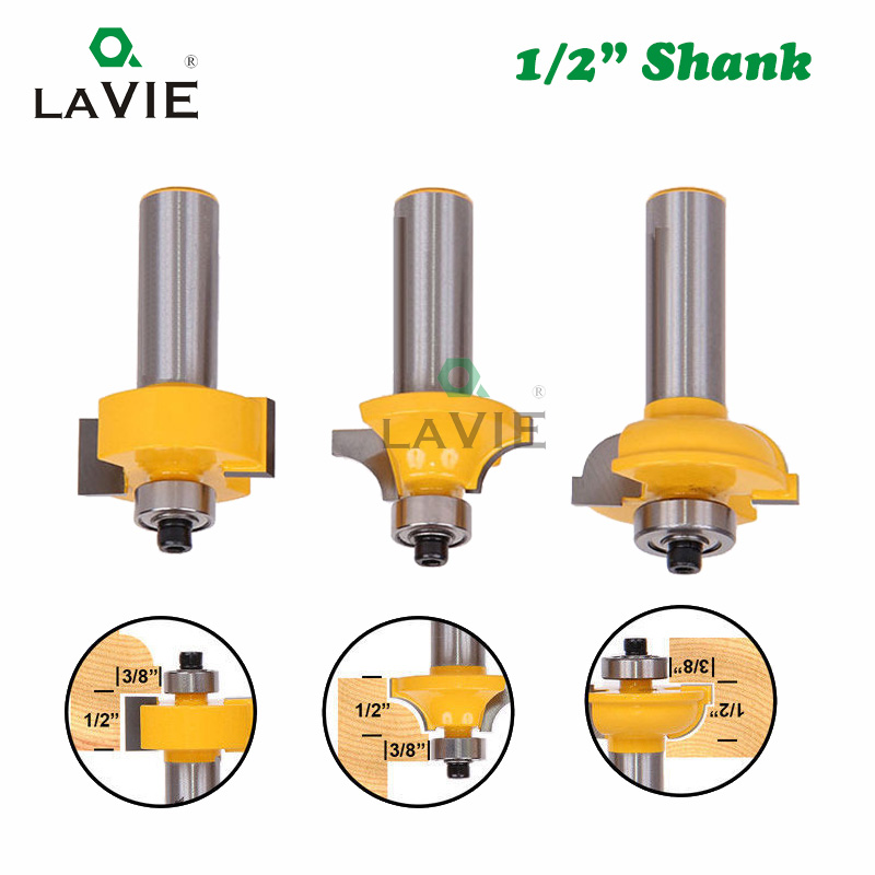 "Image 2 - 3pcs 12mm 1/2"" Shank Router Bits Set Beading Bit Round Over Bead Frame Door T V Shape Milling Cutter For Wood Power Tools 03028tool bit setwoodworking setwoodworking router bit set -"