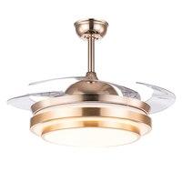 Вентилятор света невидимым вентилятор свет золотых и серебряных 36/42 дюйма дистанционный пульт 110v220V стены управления потолочный светильник