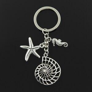 Moda 30mm breloczek brelok biżuteria kolor srebrny szyszka oceaniczna rozgwiazda Hippocampus konik morski wisiorek