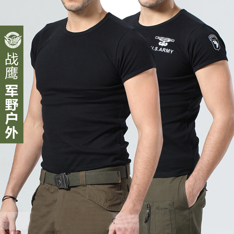 Pure cotton round neck Hawk outdoor military tide tight t-shirt men short  sleeve casual black t-shirt bottoming shirt army 0a8b571db5a