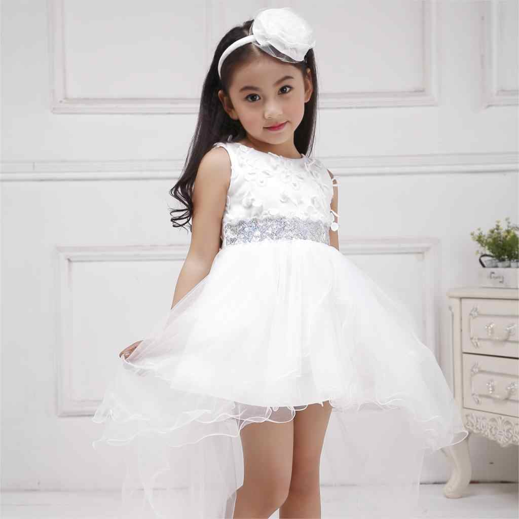 ... Azel 4-12T Children Party Wear Short Front Long Back Formal Dress White  Princess Wedding ... 71bee2c8775a