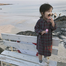 Блузка с отложным воротником для маленьких девочек детские блузки в клетку с длинными рукавами и рубашки для детей, клетчатые рубашки и топы, одежда для девочек